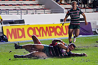 26th September 2020; Toulon, France; European Challenge Cup Rugby, semi-final; RC Toulon versus Leicester Tigers;  Harry Potter (Leicester) goes over for his try