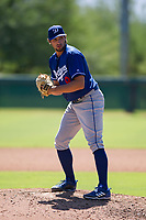 Los Angeles Dodgers pitcher Sven Schueller (9) prepares to deliver a pitch to the plate during an Instructional League game against the Chicago White Sox on September 30, 2017 at Camelback Ranch in Glendale, Arizona. (Zachary Lucy/Four Seam Images)