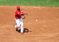 23 August 2009: Washington Nationals' shortstop Cristian Guzman in action against the Milwaukee Brewers at Nationals Park in Washington, DC. The Nationals defeated the Brewers 8-3 to take the third game of their four-game series, snapping a five games losing streak. Mandatory Credit: Ed Wolfstein Photo