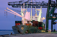A docked cargo ship and loading cranes.