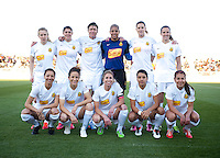 The Western NY Flash lines up before the game at the Maryland SoccerPlex in Boyds, MD.  Washington tied Western NY, 1-1.