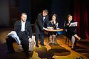 London, UK. 10.10.2014. Mountview Academy of Theatre Arts presents CURTAINS, at the Bernie Grant Arts Centre. Picture shows:  Alastair Farrall-Daniel (AARON FOX), Liam Farrow (OSCAR SHAPIRO), Grace Cowell (GEORGIA HENDRICKS) and Vikki Riches (CARMEN BERNSTEIN). Photograph © Jane Hobson.