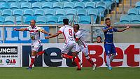 15th March 2020, Porto Alegre, State of Rio Grande do Sul, Brazil; Brazilian football league, Gremio versus Sao Luiz;  Players of Sao Luiz celebrate the goal from Michel Chagas