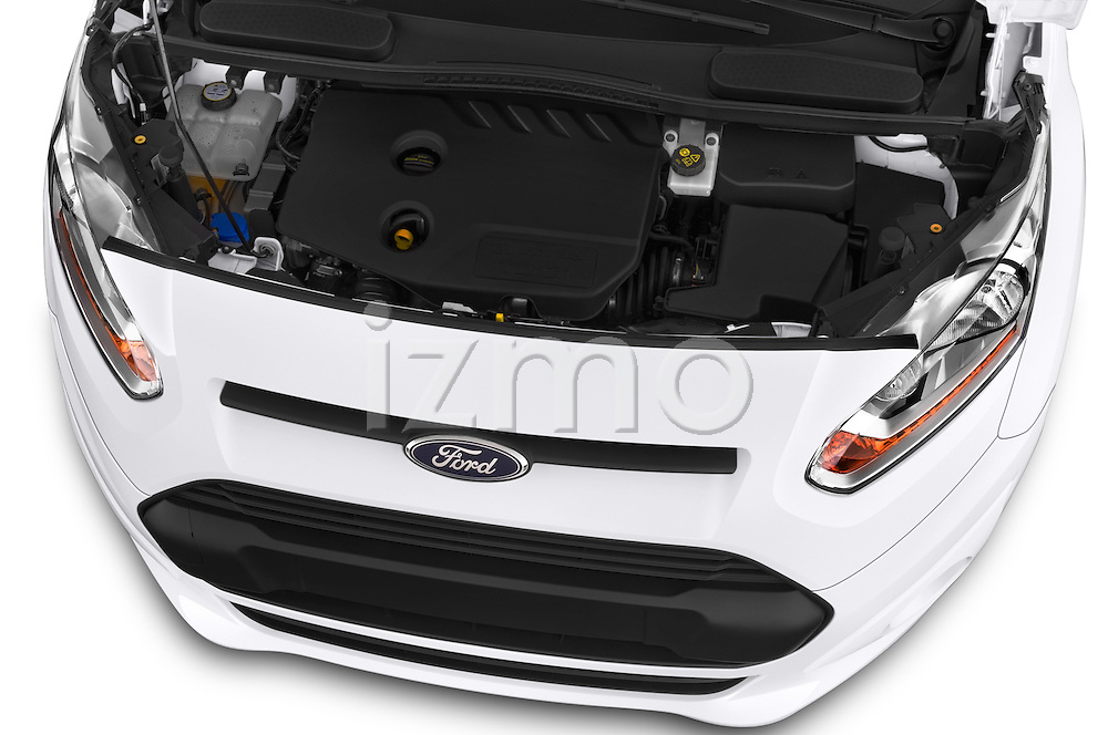 Car Stock 2015 Ford Transit Connect Trend 5 Door Minivan Engine high angle detail view