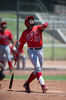 Los Angeles Angels third baseman Kevin Maitan (53) follows through on his swing during an Extended Spring Training game against the Giants Black at the San Francisco Giants Training Complex on May 25, 2018 in Scottsdale, Arizona. (Zachary Lucy/Four Seam Images)