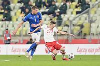11th October 2020, The Stadion Energa Gdansk, Gdansk, Poland; UEFA Nations League football, Poland versus Italy; SEBASTIAN SZYMANSKI holds off ANDREA BELOTTI