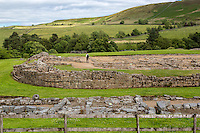 Northumberland,  England, UK.  Vindolanda Roman Fort, Western Wall.