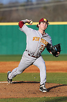 Relief pitcher Austin Lawrence (29) of the Winthrop University Eagles delivers a pitch in a game against the University of South Carolina Upstate Spartans on Wednesday, March 4, 2015, at Cleveland S. Harley Park in Spartanburg, South Carolina. Upstate won, 12-3. (Tom Priddy/Four Seam Images)