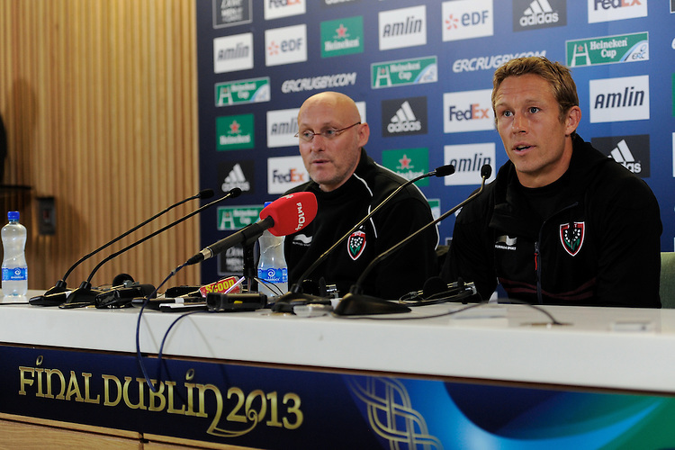 Jonny Wilkinson of RC Toulon (right) with Bernard Laporte, RC Toulon Head Coach, during the Captain's Run press conference before the Heineken Cup Final at the Aviva Stadium, Dublin on Friday 17th May 2013 (Photo by Rob Munro).