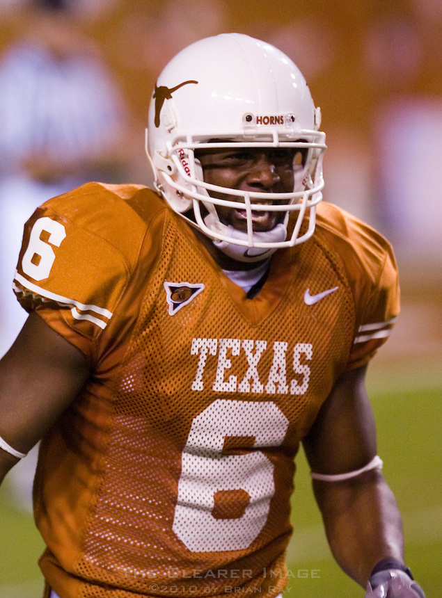 30 September 2006: Texas receiver Quan Cosby celebrates on his way to the sidelines after returning a punt for a touchdown during the Longhorns 56-3 victory over the Sam Houston State Bearkats at Darrell K Royal Memorial Stadium in Austin, TX.