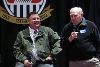 INDIANAPOLIS, IN - January 18, 2013: 1950 World Cup captain Walter Bahr (right) talks as 1998 World Cup coach Steve Sampson (left) listens. U.S. Soccer hosted a World Cup Coaches and Captains panel at the Indiana Convention Center in Indianapolis, Indiana during the NSCAA Annual Convention.