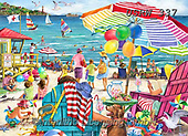 Randy, LANDSCAPES, LANDSCHAFTEN, PAISAJES, paintings+++++,USRW337,#l#, EVERYDAY,beach,ocian,seaside ,puzzle,puzzles
