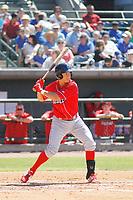 Lakewood BlueClaws outfielder Carlos Duran (13) at bat during a game against the Charleston RiverDogs on May 3, 2017 at Joseph P. Riley Ballpark in Charleston, South Carolina. Lakewood defeated Charleston 10-6. (Robert Gurganus/Four Seam Images)