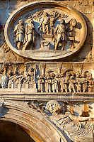 Roman sculptural decorations  on  The Arch Of Constantine built to celebrate victory over Maxentius . Rome. Rome