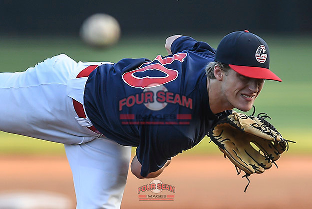 J.L. Mann senior Braden Buffington (10) of the Greer Warhawks pitched two innings in relief in a South Carolina American League playoff game against Easley on Tuesday, August 4, 2020, at Stevens Field in Greer, South Carolina. Greer won, 9-6. (Tom Priddy/Four Seam Images)