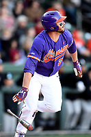 First baseman Chris Williams (27) of the Clemson Tigers bats in the Reedy River Rivalry game against the South Carolina Gamecocks on Saturday, March 3, 2018, at Fluor Field at the West End in Greenville, South Carolina. Clemson won, 5-1. (Tom Priddy/Four Seam Images)