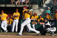 Corey Dempster #15 of the USC Trojans bats against the Northwestern Wildcats at Dedeaux Field on  February 16, 2014 in Los Angeles, California. USC defeated Northwestern, 13-6. (Larry Goren/Four Seam Images)