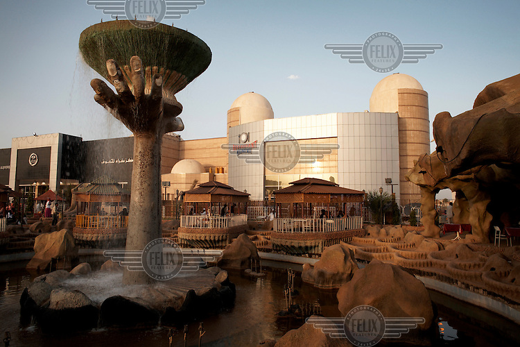 Water feature at the Afra theme park. Khartoum's first mall 'Afra' opened in 2004 and has become popular with affluent Sudanese.