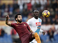 Roma's Mohamed Salah, left, is chased by Napoli's Kalidou Koulibaly during the Italian Serie A football match between Roma and Napoli at Rome's Olympic stadium, 4 March 2017. <br /> UPDATE IMAGES PRESS/Isabella Bonotto