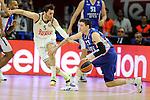 Real Madrid´s Rudy Fernandez and Anadolu Efes´s Matt Janning during 2014-15 Euroleague Basketball Playoffs match between Real Madrid and Anadolu Efes at Palacio de los Deportes stadium in Madrid, Spain. April 15, 2015. (ALTERPHOTOS/Luis Fernandez)