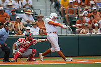 Texas Longhorns first baseman Kacy Clemens (42) swings the bat in front of catcher Caleb Barker (27) during the NCAA Super Regional baseball game against the Houston Cougars on June 7, 2014 at UFCU Disch–Falk Field in Austin, Texas. The Longhorns are headed to the College World Series after they defeated the Cougars 4-0 in Game 2 of the NCAA Super Regional. (Andrew Woolley/Four Seam Images)