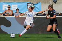 BRIDGEVIEW, IL - JULY 18: Eugenie Le Sommer #9 of the OL Reign kicks the ball during a game between OL Reign and Chicago Red Stars at SeatGeek Stadium on July 18, 2021 in Bridgeview, Illinois.