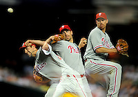 Apr. 25, 2011; Phoenix, AZ, USA; (Editors Note: Multiple exposure photograph) Philadelphia Phillies pitcher Cliff Lee throws in the fourth inning against the Arizona Diamondbacks at Chase Field. Mandatory Credit: Mark J. Rebilas-