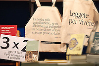 """Frase """"Leggete per Vivere"""" di Gustave Flaubert,  frase di Albert Camus e cartelli di offete speciali. <br /> Roma 05-12-2013 Palazzo dei Congressi <br /> XI Fiera nazionale della piccola editoria.  XII fair of small editors and publishings. <br /> Foto Andrea Staccioli / Insidefoto"""
