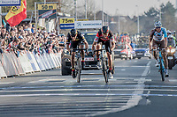 Greg Van Avermaet (BEL/BMC) beating Philippe Gilbert (BEL/Quick Step floors) on the finish line by a smal margin<br /> <br /> 60th E3 Harelbeke (1.UWT)<br /> 1day race: Harelbeke › Harelbeke - BEL (206km)