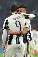 Calcio, semifinale di andata di Tim Cup: Juventus vs Napoli. Torino, Juventus Stadium, 28 febbraio 2017.<br /> Juventus' Paulo Dybala, right, celebrates with his teammate Gonzalo Higuain after scoring his second goal on a penalty kick during the Italian Cup semifinal first leg football match between Juventus and Napoli at Turin's Juventus stadium, 28 February 2017.<br /> UPDATE IMAGES PRESS/Manuela Viganti