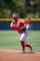 Philadelphia Phillies Jesus Azuaje (2) during a Minor League Extended Spring Training game against the Pittsburgh Pirates on May 3, 2018 at Pirate City in Bradenton, Florida.  (Mike Janes/Four Seam Images)