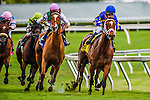 HALLANDALE BEACH, FLORIDA - APRIL 2:  Photo Call #4, ridden by Jockey Javier Castellano, coming around the final turn in the lead with Suffused #3, ridden by Jockey Jose A. Lezcano, and eventually wins the 56th Running of The Orchid at Gulfstream Park on April 2, 2016 in Hallandale Beach, Florida (photo by Doug DeFelice/Eclipse Sportswire/Getty Images)