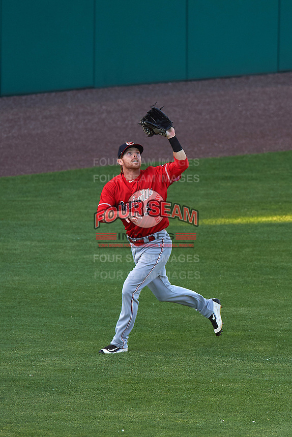 Louisville Bats center fielder Bryson Smith (3) catches a fly ball during a game against the Syracuse Chiefs on June 6, 2016 at NBT Bank Stadium in Syracuse, New York.  Syracuse defeated Louisville 3-1.  (Mike Janes/Four Seam Images)