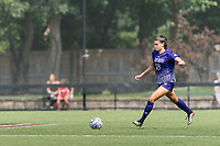 NEWTON, MA - SEPTEMBER 12: Avery Gardner #18 of Holy Cross dribbles during a game between Holy Cross and Boston College at Newton Campus Soccer Field on September 12, 2021 in Newton, Massachusetts.
