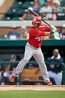 Florida Southern Moccasins third baseman David Lugo (10) at bat during an exhibition game against the Detroit Tigers on February 29, 2016 at Joker Marchant Stadium in Lakeland, Florida.  Detroit defeated Florida Southern 7-2.  (Mike Janes/Four Seam Images)