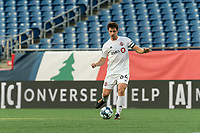FOXBOROUGH, MA - JULY 9: Kevin Politz #64 of Toronto FC II passes the ball during a game between Toronto FC II and New England Revolution II at Gillette Stadium on July 9, 2021 in Foxborough, Massachusetts.