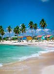 Dominikanische Republik, Isla Saona, Laguna Canto de la Playa, Strand, farbige Huetten | Dominican Republic, Saona Island, Laguna Canto de la Playa, beach, coloured huts