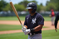 New York Yankees Jasson Dominguez (25) walks to the plate during an Extended Spring Training game against the Philadelphia Phillies on June 22, 2021 at the Carpenter Complex in Clearwater, Florida.  (Mike Janes/Four Seam Images)