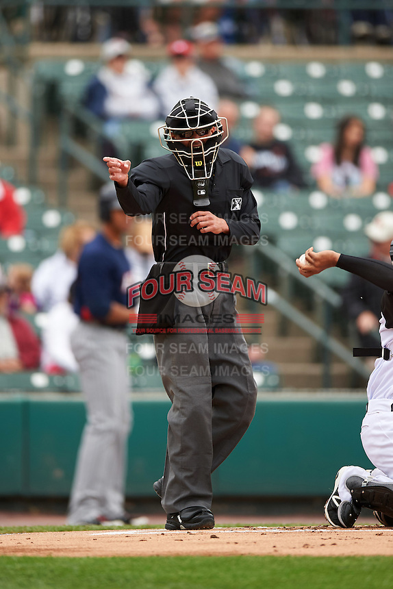 Umpire Roberto Ortiz during a game between the Toledo Mudhens and Rochester Red Wings on June 12, 2016 at Frontier Field in Rochester, New York.  Rochester defeated Toledo 9-7.  (Mike Janes/Four Seam Images)