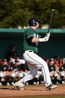 Plymouth State Panthers Brian Thompson (25) during the first game of a doubleheader against the Edgewood Eagles on March 17, 2015 at Terry Park in Fort Myers, Florida.  Edgewood defeated Plymouth State 12-3.  (Mike Janes/Four Seam Images)