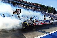 Jun. 15, 2012; Bristol, TN, USA: NHRA top fuel dragster driver David Grubnic during qualifying for the Thunder Valley Nationals at Bristol Dragway. Mandatory Credit: Mark J. Rebilas-