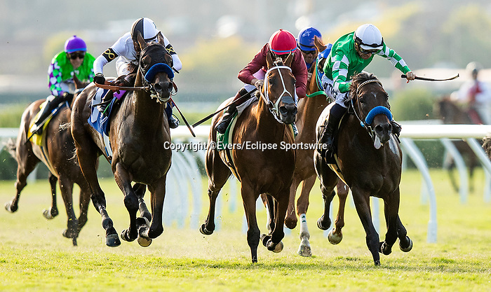 AUGUST 08 2021: Sword Zorro and Umberto Rispoli (withe cap) battle with Zoffarelli and Drayden Van Dyke and Hudson Ridge and Abel Cedillo in the La Jolla Stakes at Del Mar Fairgrounds in Del Mar, California on August 08, 2021. Zoffarelli was awarded the victory on disqualification of Sword Zorro. Evers/Eclipse Sportswire/CSM