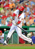 8 June 2010: Washington Nationals' outfielder Roger Bernadina at bat against the Pittsburgh Pirates at Nationals Park in Washington, DC. The Nationals defeated the Pirates 5-2 in the series opener where pitching sensation Stephen Strasburg made his Major League debut, striking out 14 batters and notching his first win in the majors. Mandatory Credit: Ed Wolfstein Photo