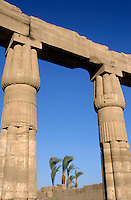 Two columns framing trees in the distance, Karnak Temple, Luxor, Egypt.