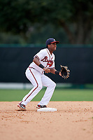 GCL Braves second baseman Luis Ovando (7) waits to receive a throw during the second game of a doubleheader against the GCL Yankees West on July 30, 2018 at Champion Stadium in Kissimmee, Florida.  GCL Braves defeated GCL Yankees West 5-4.  (Mike Janes/Four Seam Images)