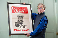 BNPS.co.uk (01202) 558833<br /> Pic: ZacharyCulpin/BNPS<br /> <br /> Auctioneer, Patrick Bogue with Kitchener poster<br /> <br /> An incredibly-rare poster that was the forerunner for the famous 'Your Country Wants You' World War One recruitment advert has been discovered.<br /> The poster, featuring Lord Kitchener pointing his finger, was a news stand advert for an edition of the magazine London Opinion in September 1914.<br /> Officials from the War Office spotted it and decided they wanted the same design for their nationwide recruitment campaign for young men to join the army.