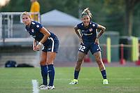 Piscataway, NJ - Saturday Aug. 27, 2016: Kristin Grubka, Tasha Kai during a regular season National Women's Soccer League (NWSL) match between Sky Blue FC and the Chicago Red Stars at Yurcak Field.