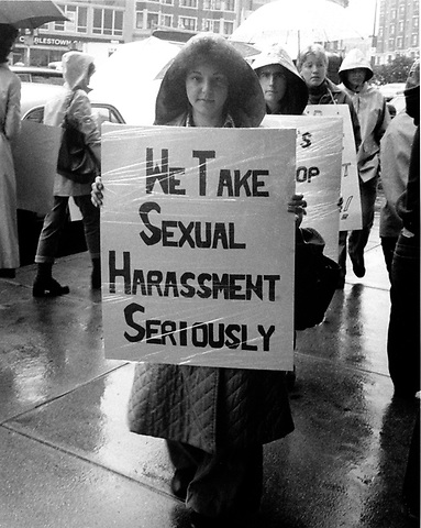 Freada Klein of the Alliance Against Sexual Coercion (AASC) at picket at the Actors Workshop Boston MA May 24, 1979
