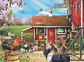 Lori, LANDSCAPES, LANDSCHAFTEN, PAISAJES, paintings+++++Chickens and Pigs_8_12in_20X27_72,USLS144,#l#, EVERYDAY ,puzzle,puzzles