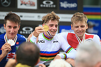 28th August 2021; Commezzadura, Trentino, Italy;  2021 Mountain Bike Cycling World Championships, Val di Sole; Cross Country, Mens Under 23, from left, Juri Zanotti (ITA), Martin VIDAURRE KOSSMANN (CHI) and Joel Roth (SUI)